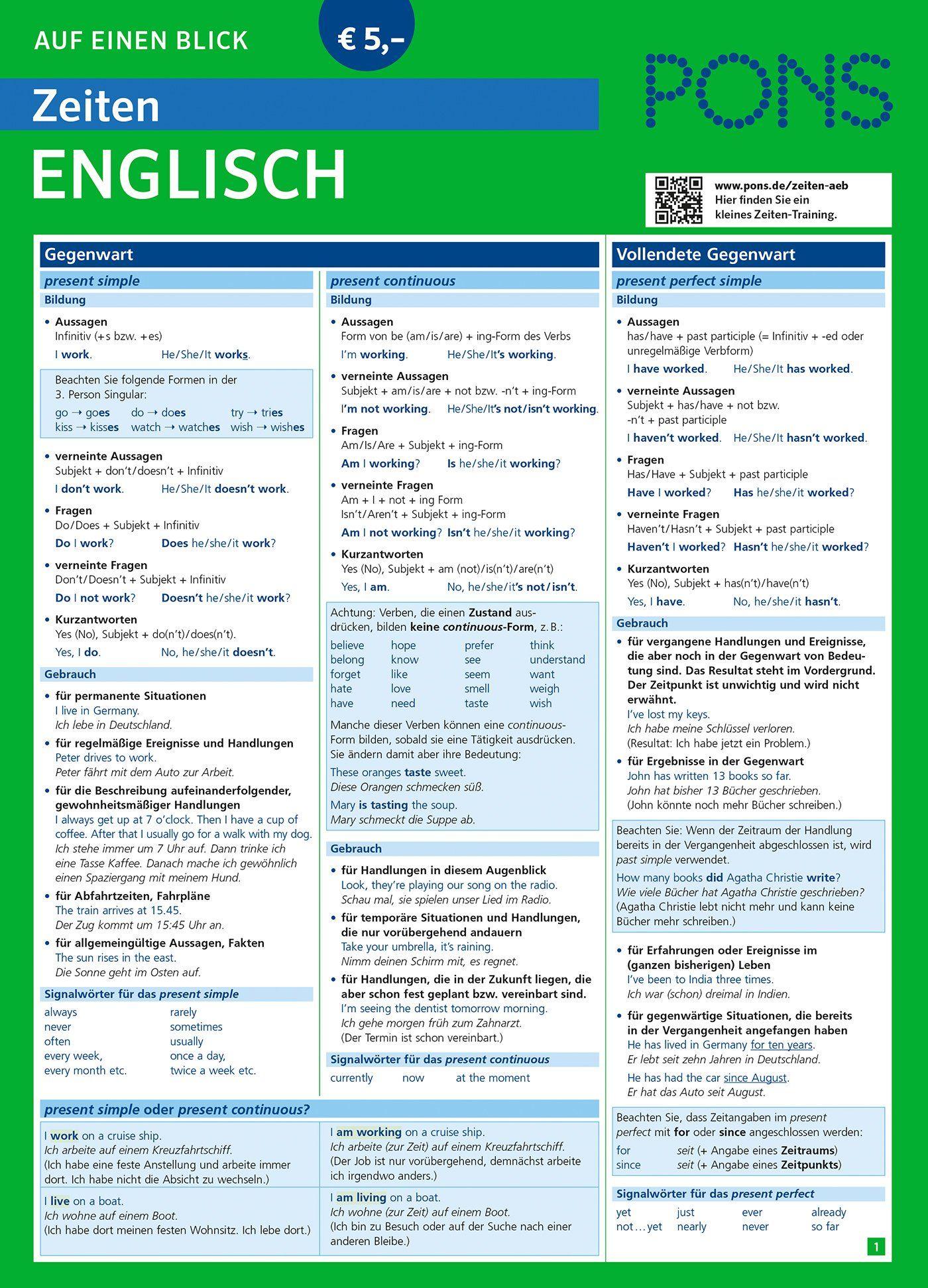 Englische Zeiten - Übersicht   Englisch lernen, Englisch