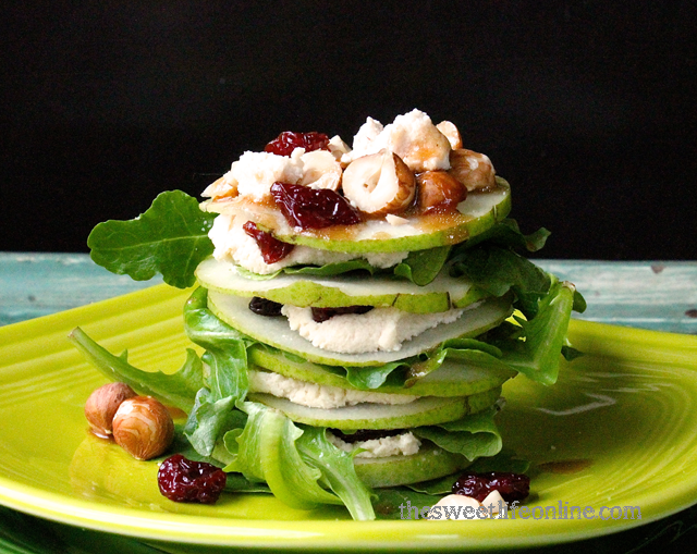"""Raw """"Goat Cheese"""" Salad with Pears, Hazelnuts, and Cherries by thesweetlifeonline #Salad #Stack #Pears #Cherries #Goat_Cheese #Raw"""