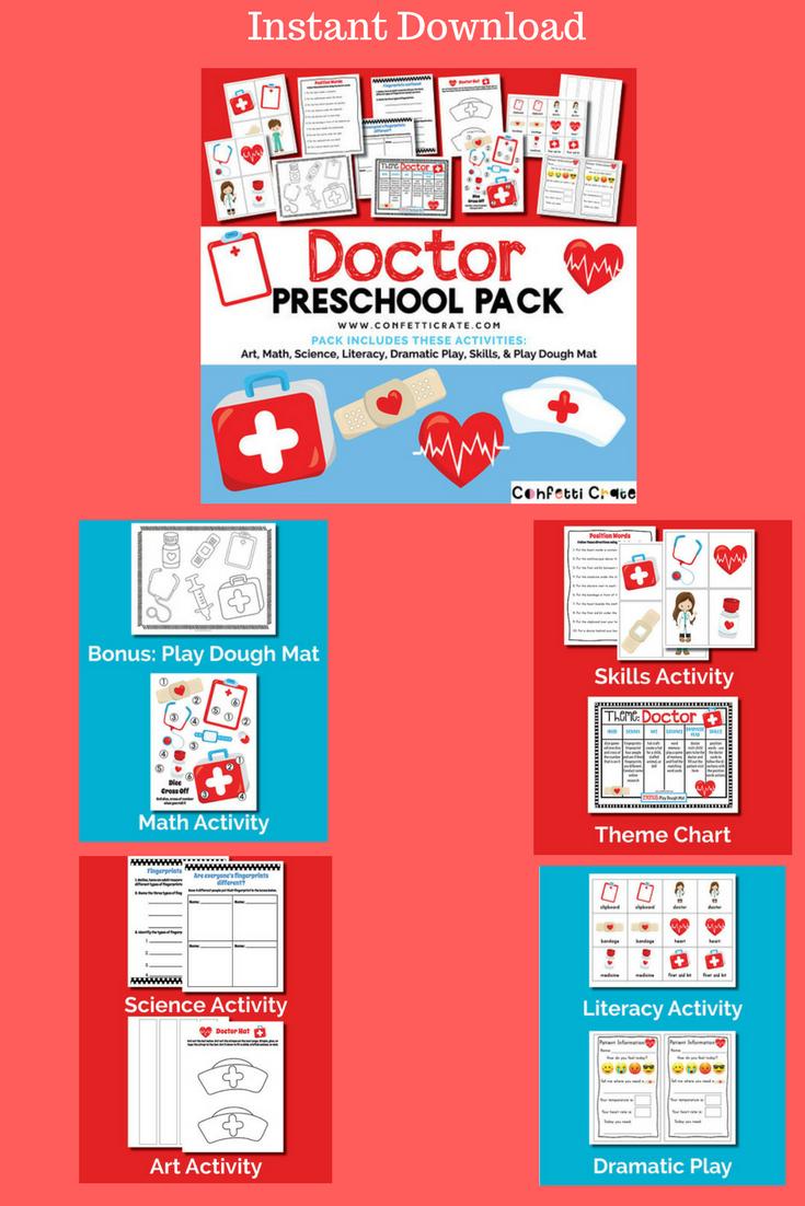 Doctor Preschool Printable Activities Packprintable Pdf Instant Download Prek Homeschooling Homschool Ad Learning Doctor Preschool Instantdownload Prin [ 1102 x 735 Pixel ]