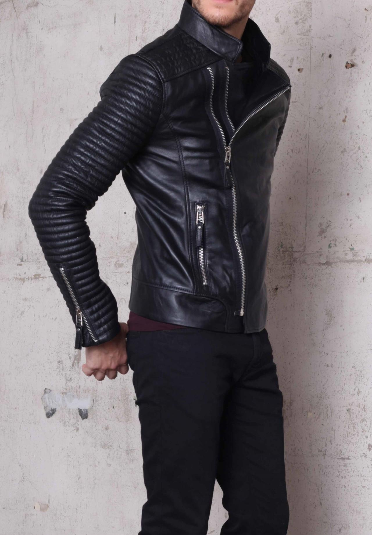 Handmade Mens Biker Leather Jacket Men Fashion Rider Leather Jacket Stylish Jackets Leather Jacket Men Style [ 1843 x 1280 Pixel ]