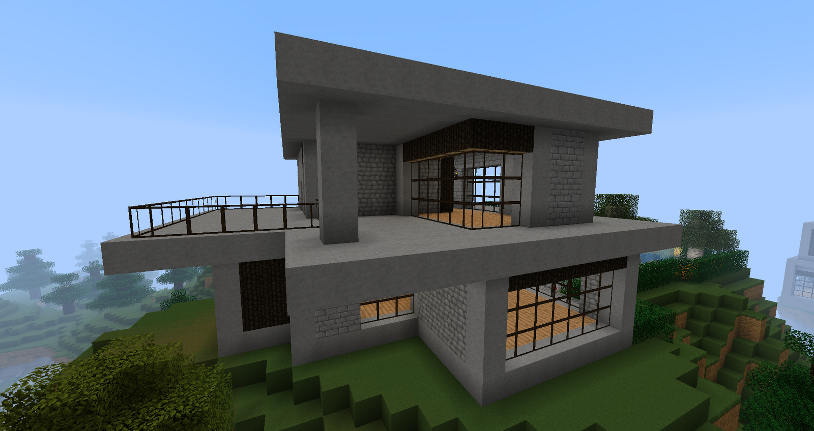 Cool easy houses in minecraft modern minecraft house for Simple modern house blueprints