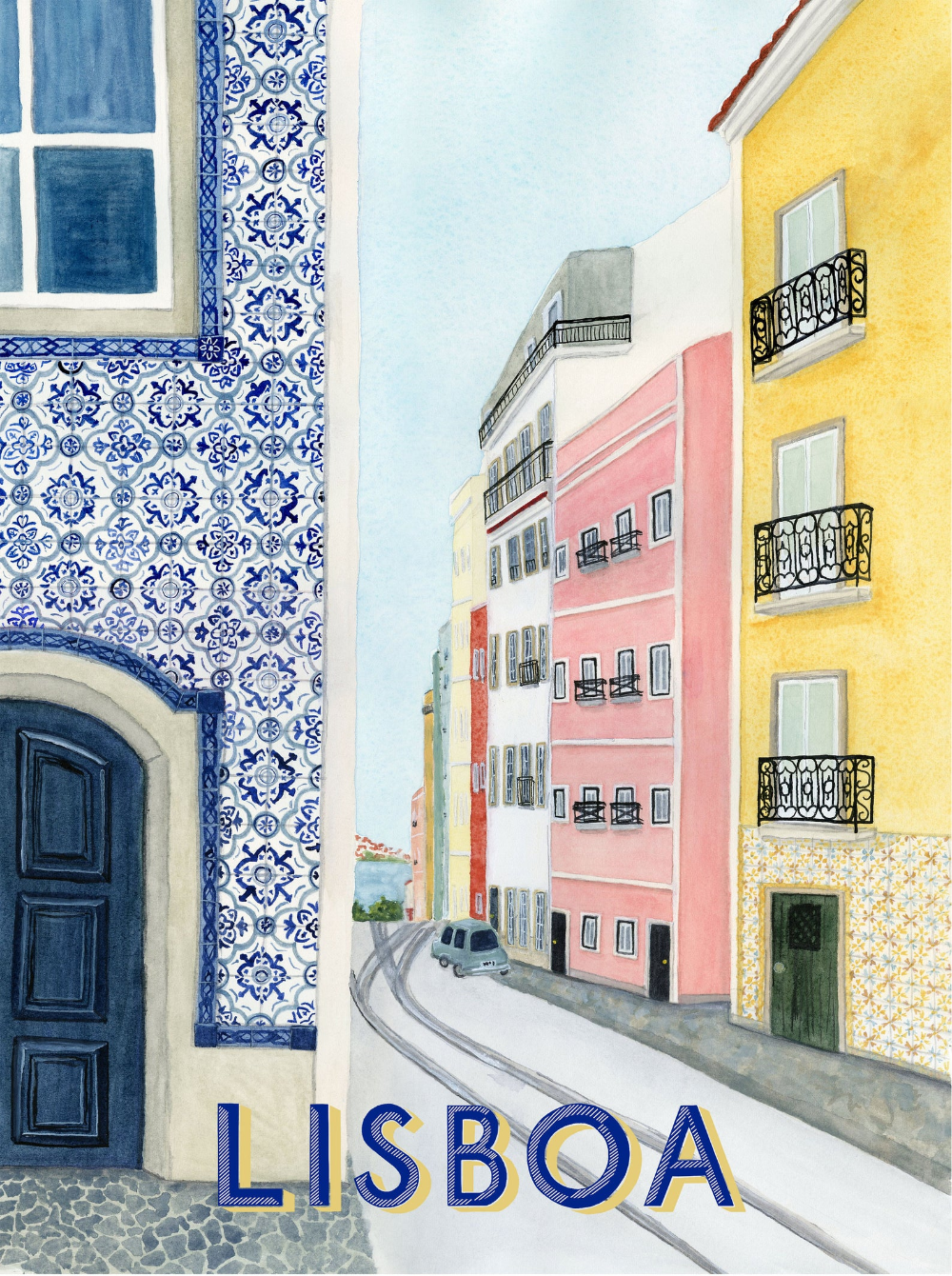 Lisbon Print Travel Poster | art print of watercol