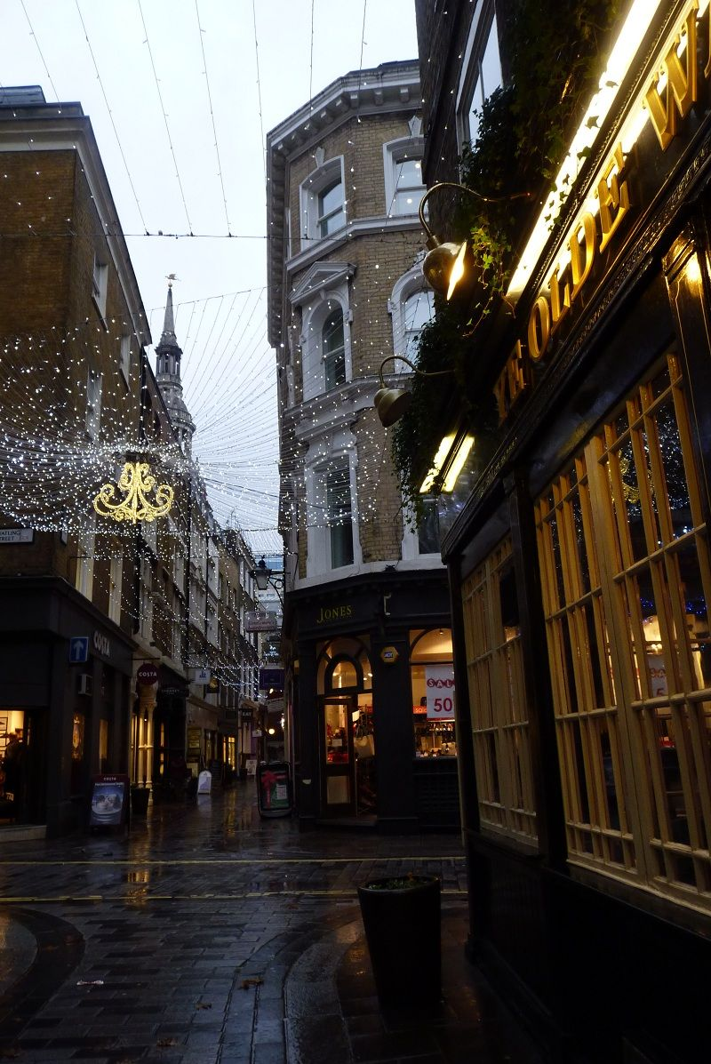 Christmas lights in a most charming Bow Lane in the City