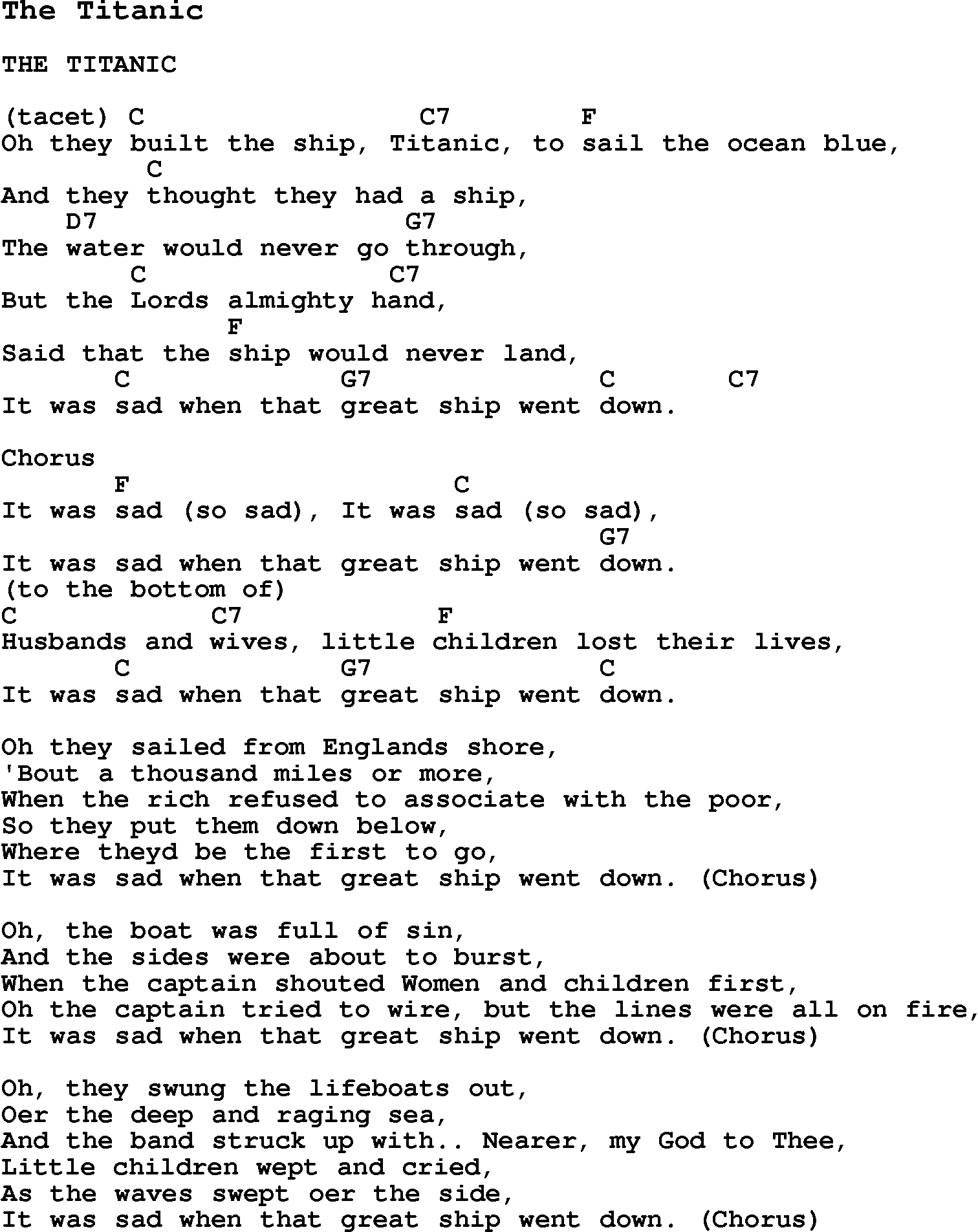 Summer camp song the titanic with lyrics and chords for ukulele summer camp song the titanic with lyrics and chords for ukulele guitar hexwebz Images