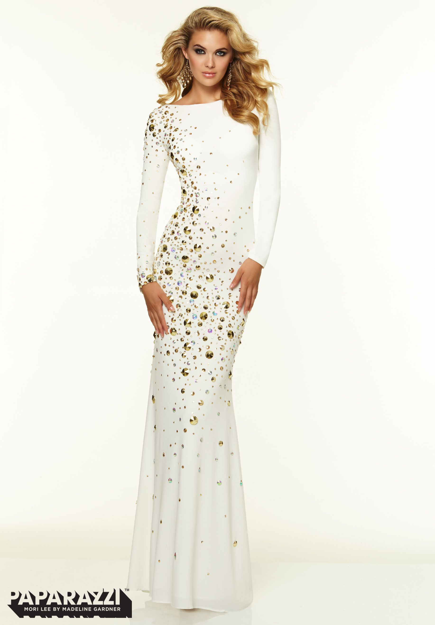 Prom Dresses   Gowns Style 97070  Long Sleeve Backless Studded Jersey  http    772e1162c3a2