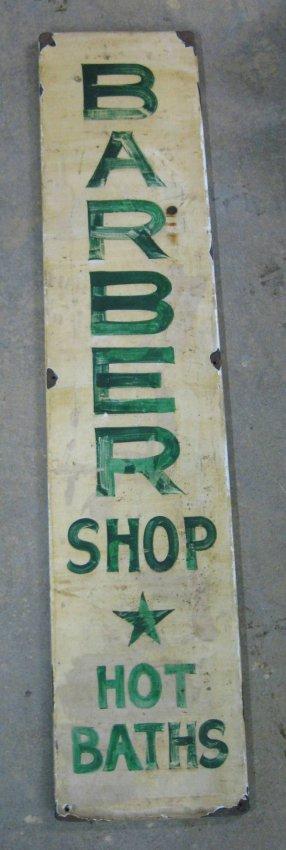 "Painted sheet metal sign ""Barber Shop / Hot Baths"""