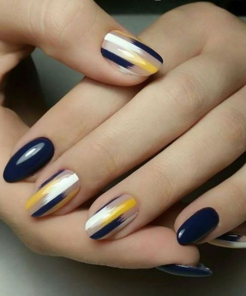 Fascinating Blue And Yellow Easy Nail Art Designs For Pretty Girls With Images Maroon Nail Designs Maroon Nails Nail Art Designs