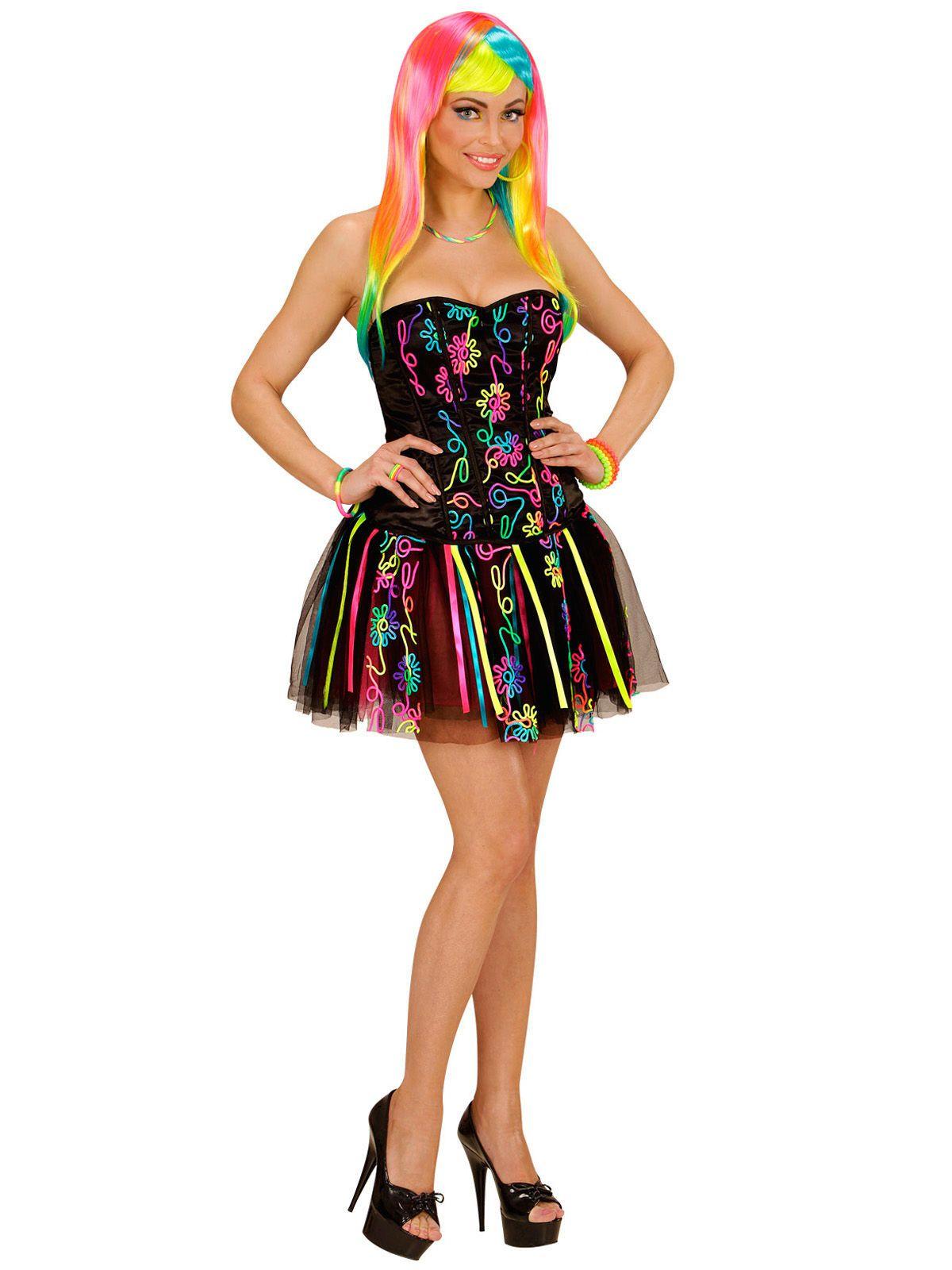 80er Disco Damenkostüm Regenbogen schwarz-bunt, aus unserer ...