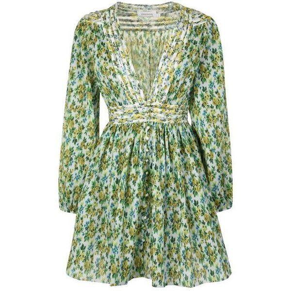 fd47c1f775d3 Zimmermann Golden Plisse Dress ($885) ❤ liked on Polyvore featuring dresses,  green dress, golden dress, zimmermann, green color dress and zimmermann  dress