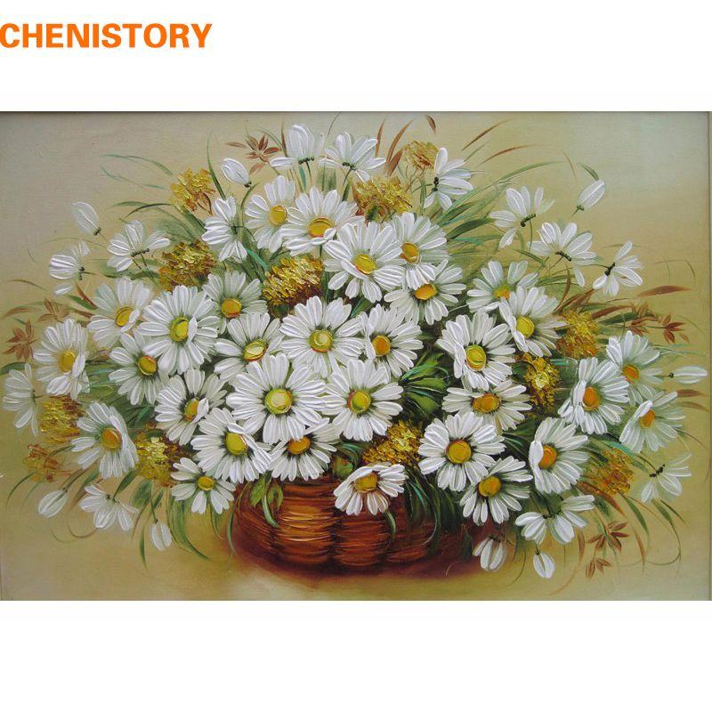 Incorniciato fiore variopinto diy pittura by numbers dipinto a mano olio su tela home decor wall art astratta decorazione della stanza