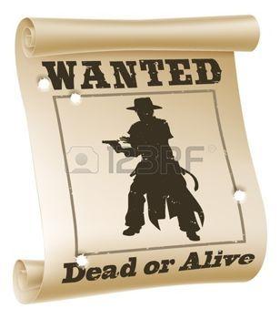 텍스트와 함께 원하는 포스터의 그림은 죽은이나 살아, 카우보이의 실루엣과 총알 구멍을 원했다 photo