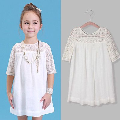 2017 New Kids Baby Girls White Chic Fairy Lace Floral Party Solid ...