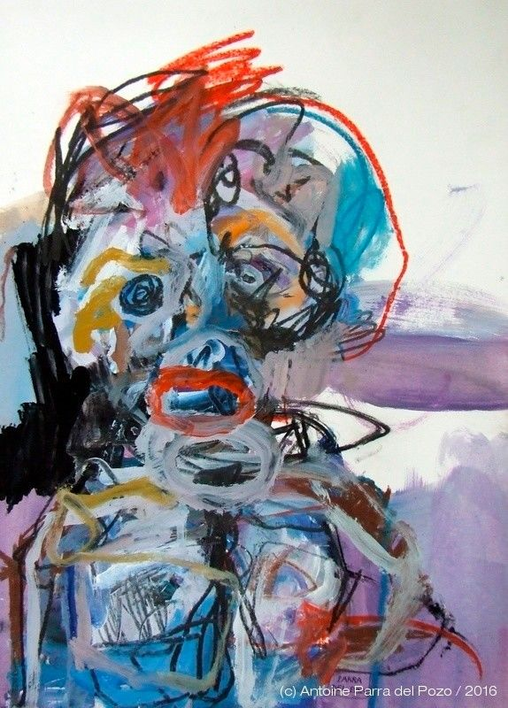 $405.07 · Painting, Acrylic  by Antoine Parra del Pozo (France). Buy the original (70x50x0,2 cm) $405.07, including shipping (France) via #Artmajeur.  #Painting #Acrylic #Graphite #Pastel #Expressionism #Portrait #Expressionniste #Abstrait #Gestuel #Émotionnel #ActionPainting