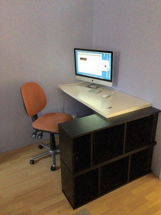 Billy Bookcase Desk: Seated Corner OR Standing Desk With Billy And Linmon