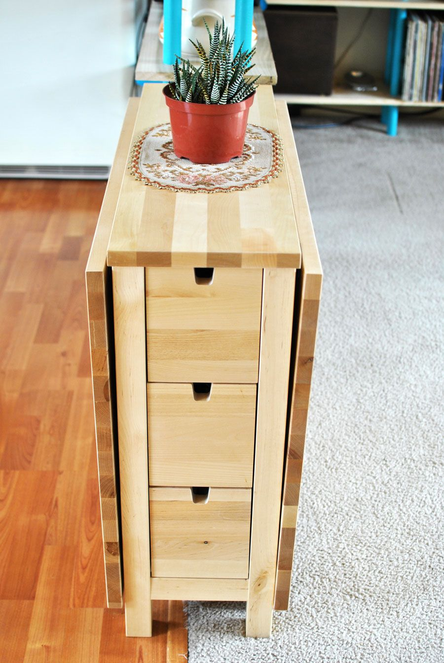 The Norden E Saving Dining Table From Ikea With 3 Skinny Drawers And It S Sides Folded Down A Succulent In Center Of Birch Wood