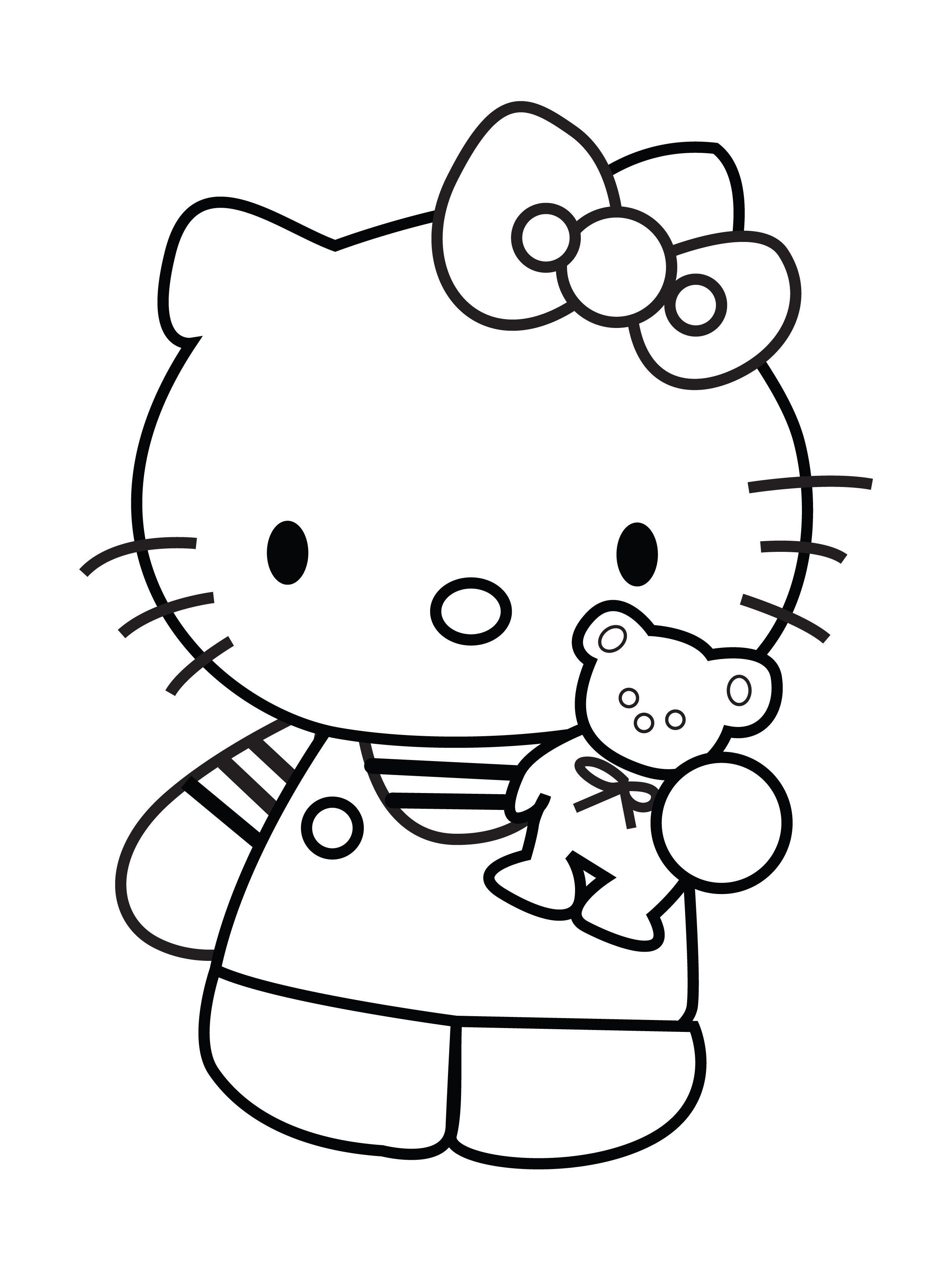 Hello Kitty Showing Teddy Bear Coloring Page