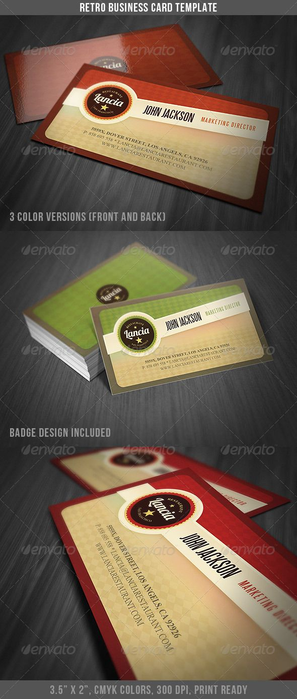 Retro Business Card Template | Card templates, Business cards and ...