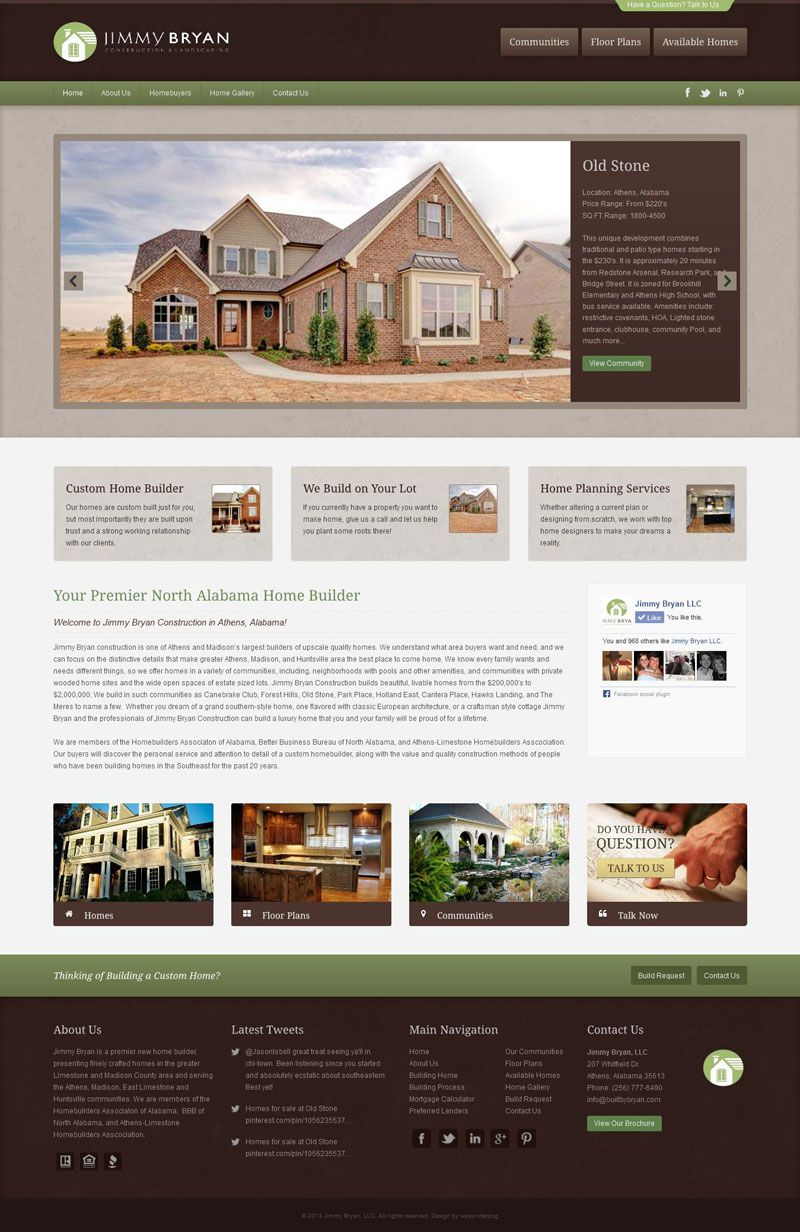 Custom Web Design Template For Jimmy Bryan Construction Landscaping In Athens Al Built On Joomla 3 Wit Custom Web Design Custom Home Builders Home Builders