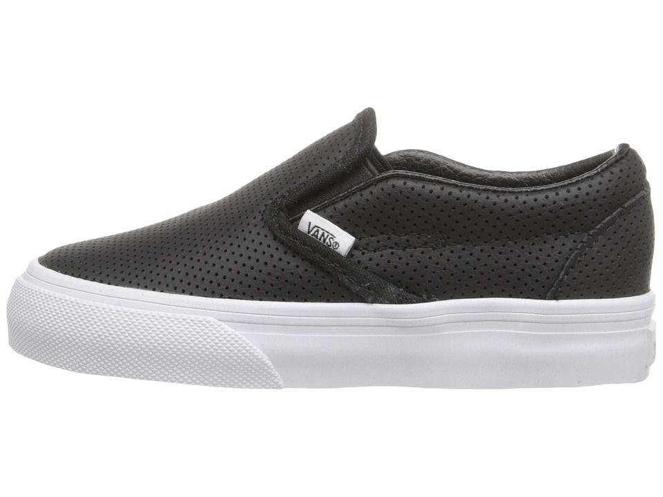 51f86c7856 Vans Kids Classic Slip-On (Toddler) Kids Shoes Black Perf Leather ...