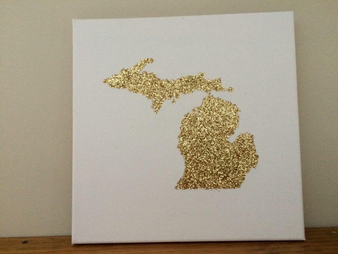 DIY glittered state canvas.