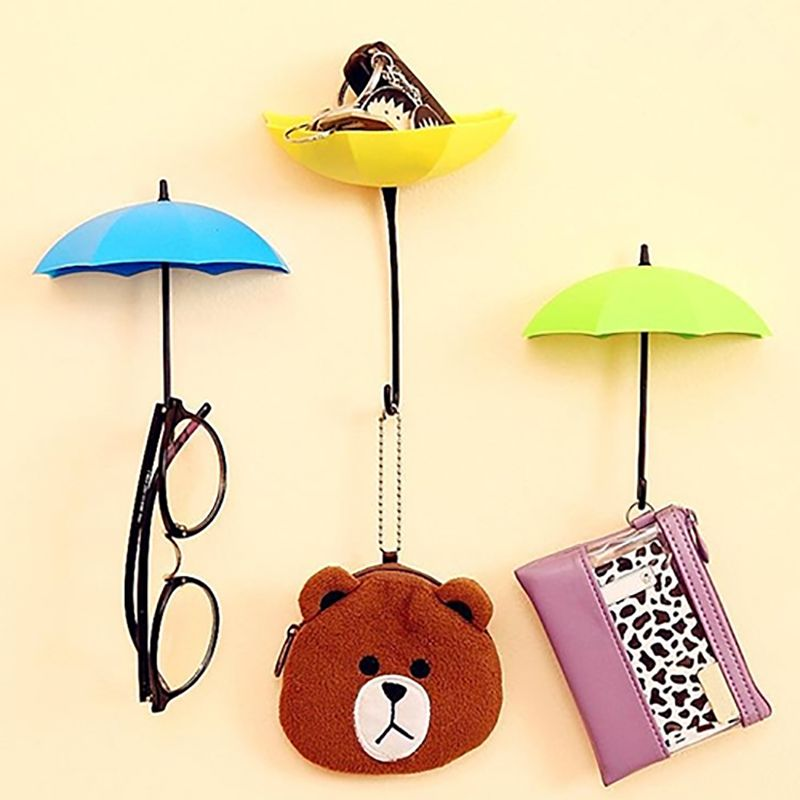 Cute Colorful Umbrella Wall Hook Hair Pin Key Holder Organizer - 68p ...