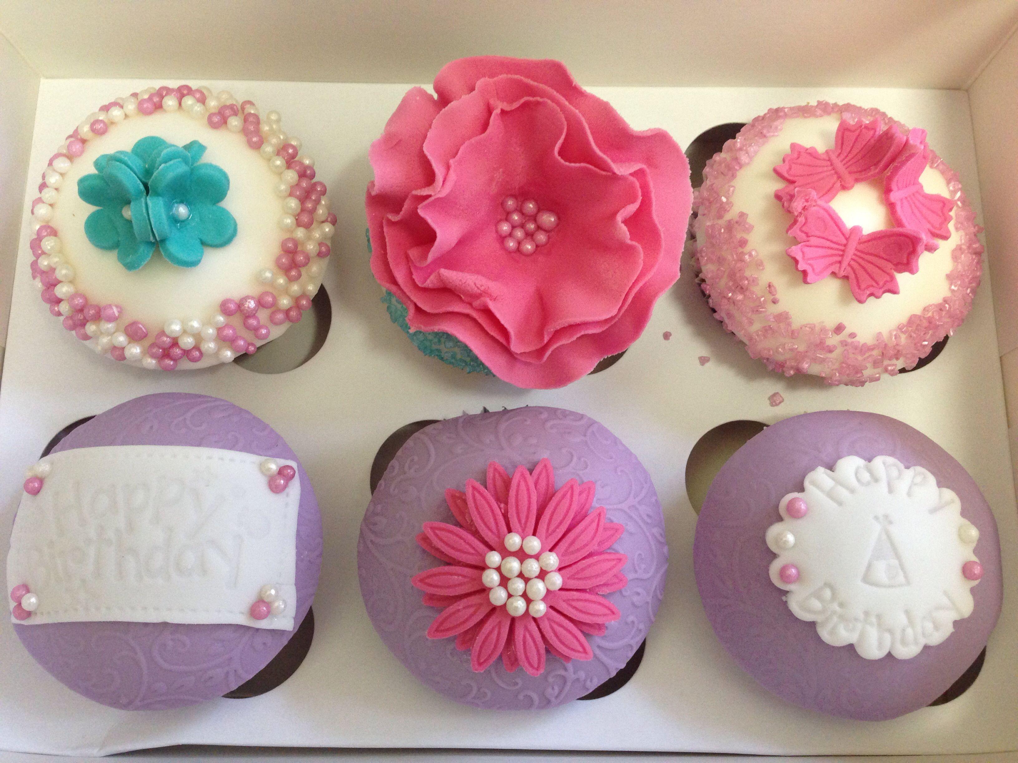 Happy Birthday Pink Flower Cupcakes Things I Love Pinterest