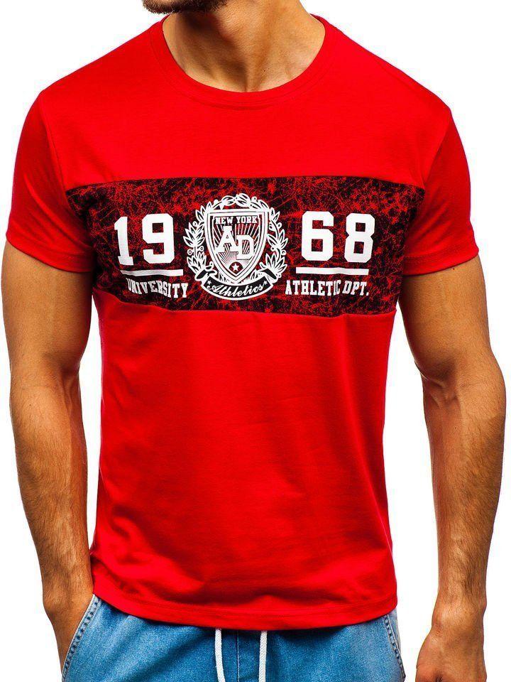 T-shirt męski z nadrukiem czerwony Denley 10813