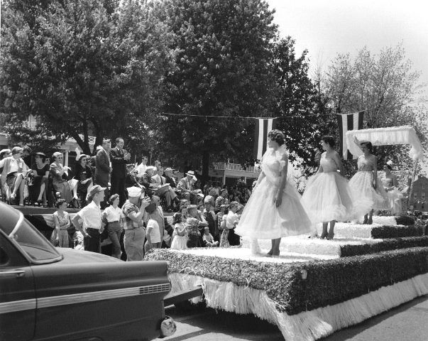 May 1956 Gov. Frank G. Clement and the reviewing stand at the Strawberry Festival Parade in Humboldt