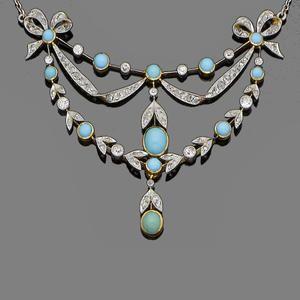A belle époque turquoise and diamond pendant necklace, circa 1900