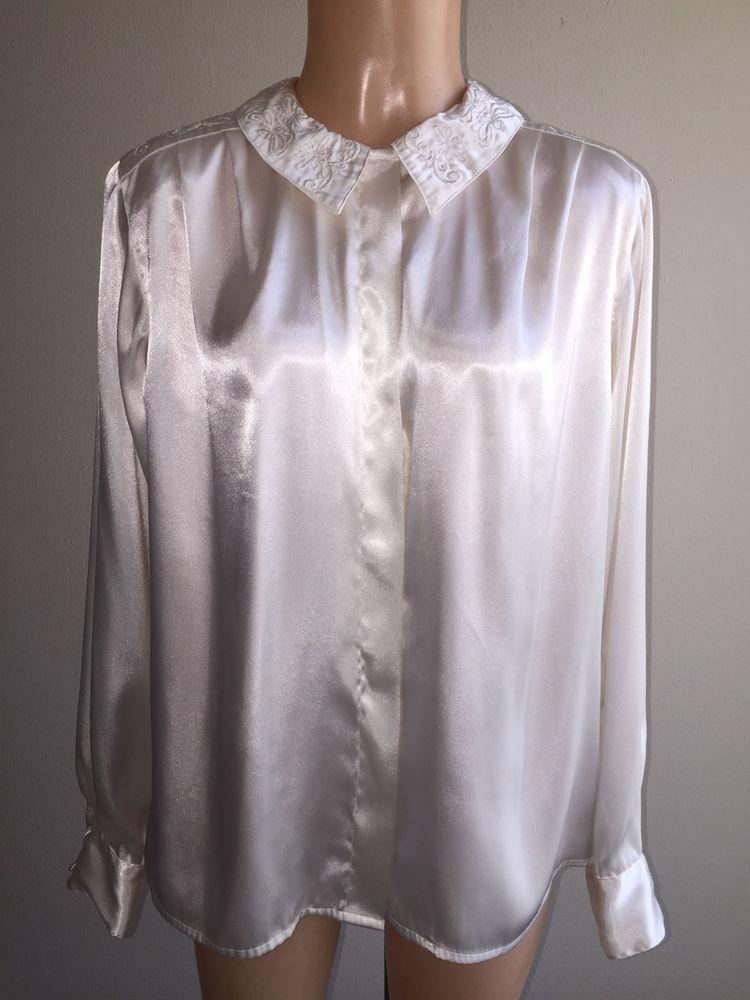 White Satin Long Sleeve Blouse 16