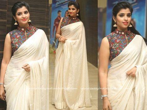 28654561927cee How to Style Plain White Saree with Kalamkari Blouse