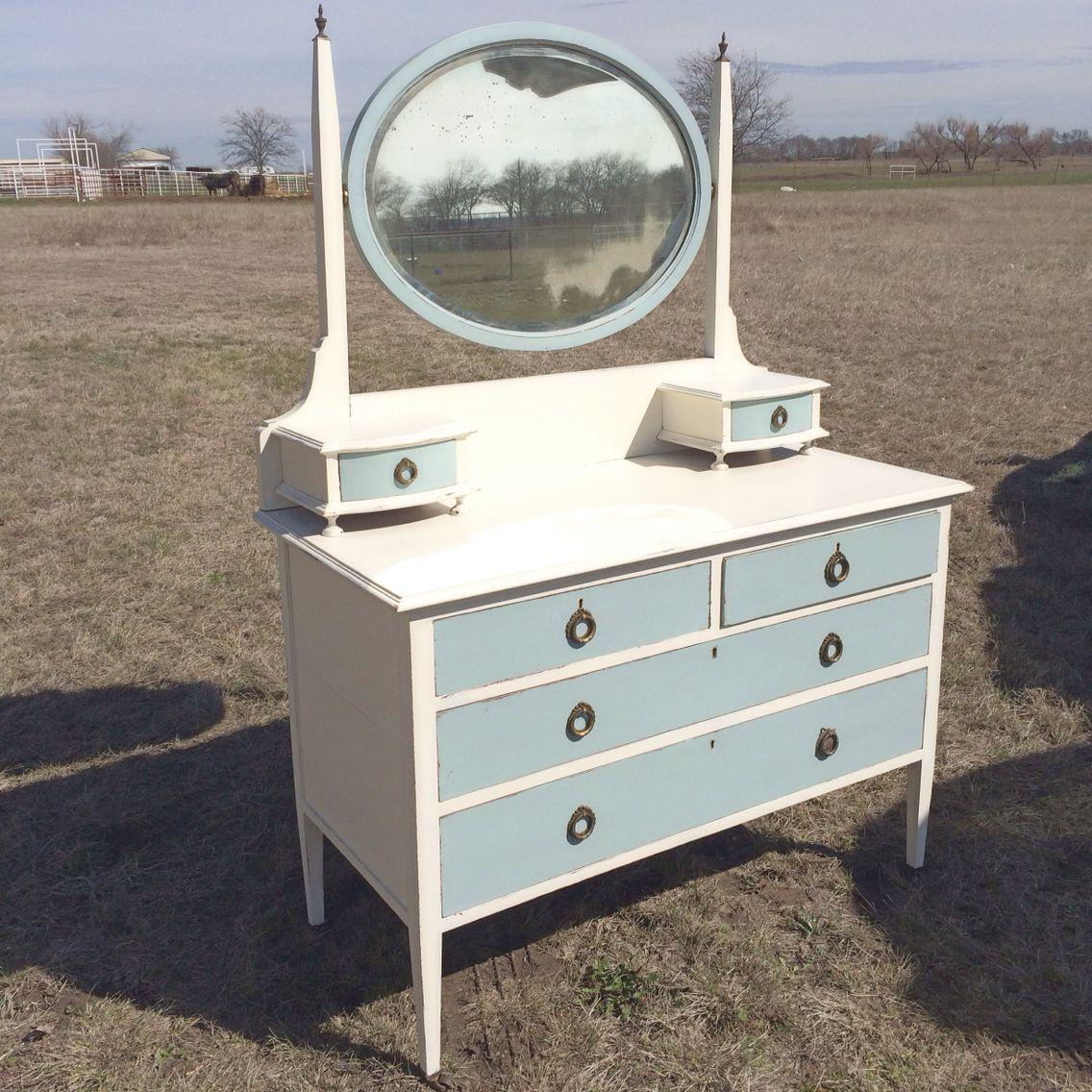 Antique english mirror dresser antique lace white