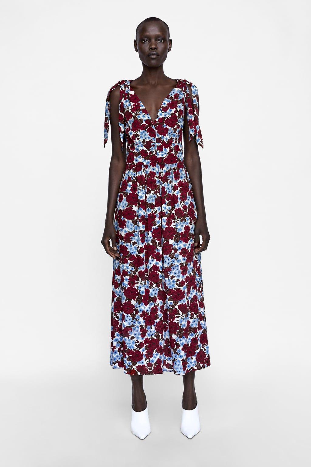 9c3ab8d569a ZARA - WOMAN - FLORAL PRINT DRESS WITH TIES Осенние Платья Подружек  Невесты