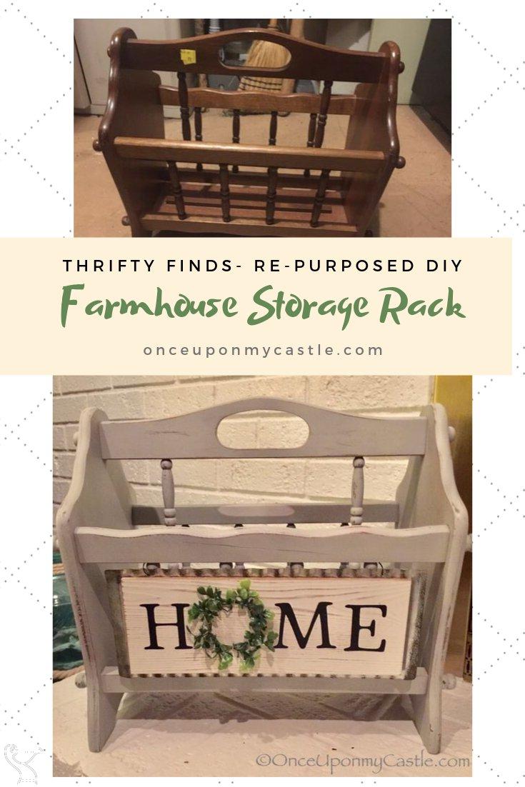 Farmhouse Storage Rack- DIY-Thrifting #farmhousefurniture