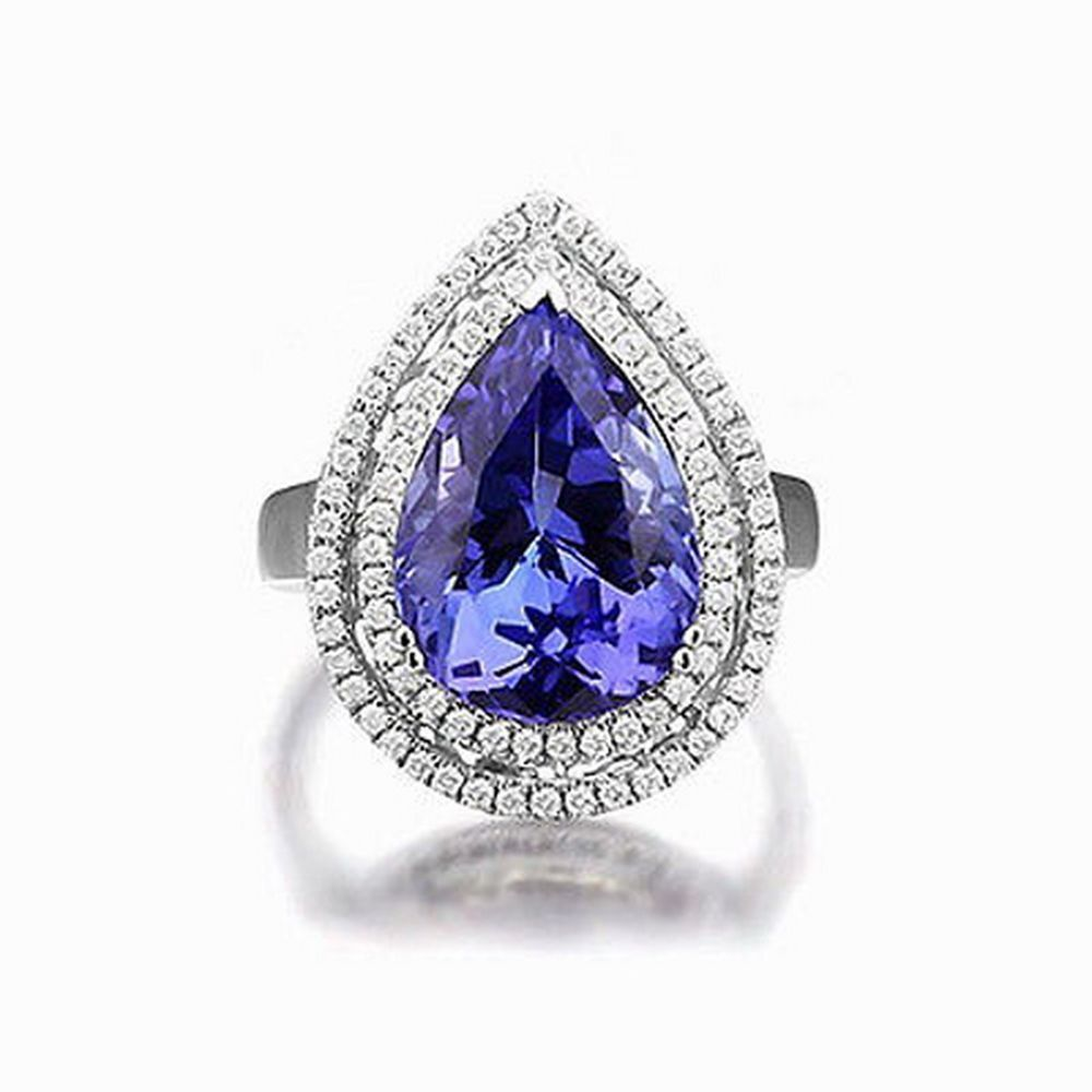 14KT WHITE GOLD NATURAL TANZANITE & EGL CERTIFIED DIAMOND 1.60CT SOLITAIRE RING #AuraGemsJewels #SolitairewithAccents #Engagement