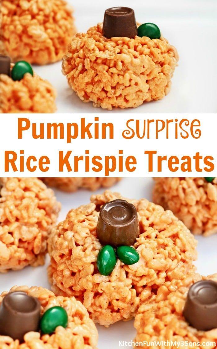 Rice Krispie Pumpkin Surprise Treats | Super fun Halloween and Fall treat for kids! #funfood #halloween #pumpkin #recipes #halloweenricekrispietreatsideas
