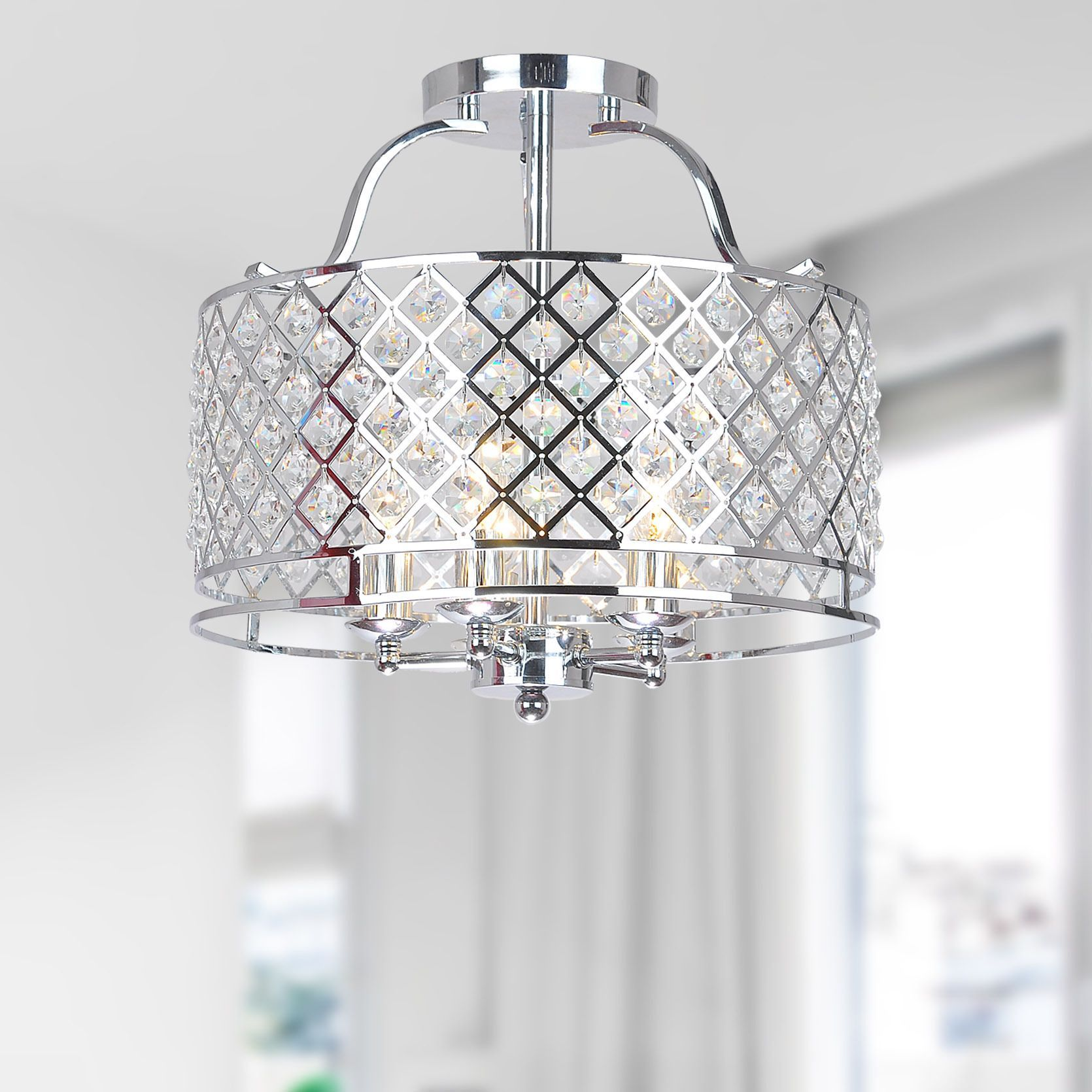 Evelyn Chrome And Crystal Ceiling Flush Mount Chandelier