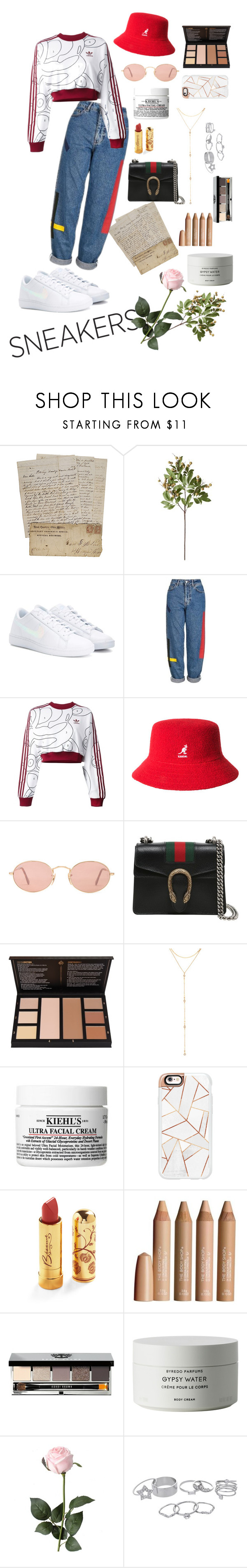 """""""Adidas and Gucci"""" by shopa-holic ❤ liked on Polyvore featuring Crate and Barrel, NIKE, Topshop, adidas Originals, kangol, Ray-Ban, Gucci, Fragments, Casetify and Betsey Johnson"""