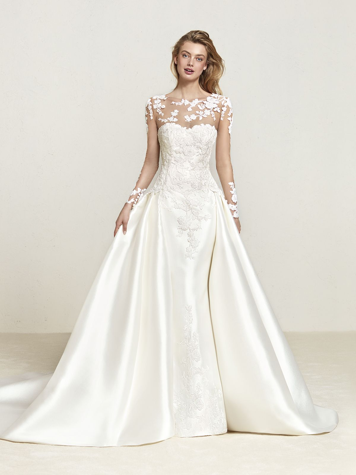Allison williams wedding dress  Vestido de Novia de Pronovias DRALINE corte evasé escote ilusión