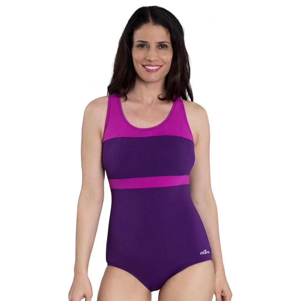 6e37d77a720 Women's Dolfin Aquashape Conservative Colorblock One-Piece Lap Swimsuit,  Brt Purple