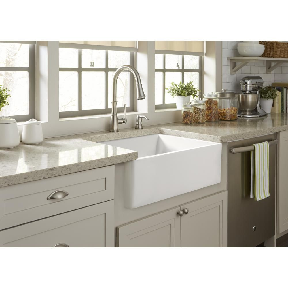 Sinkology Wilcox Ii Farmhouse Apron Front Fireclay 24 In Single Bowl Kitchen Sink In Crisp White Sk494 24fc The Home Depot Single Bowl Kitchen Sink Cheap Kitchen Remodel Small Kitchen