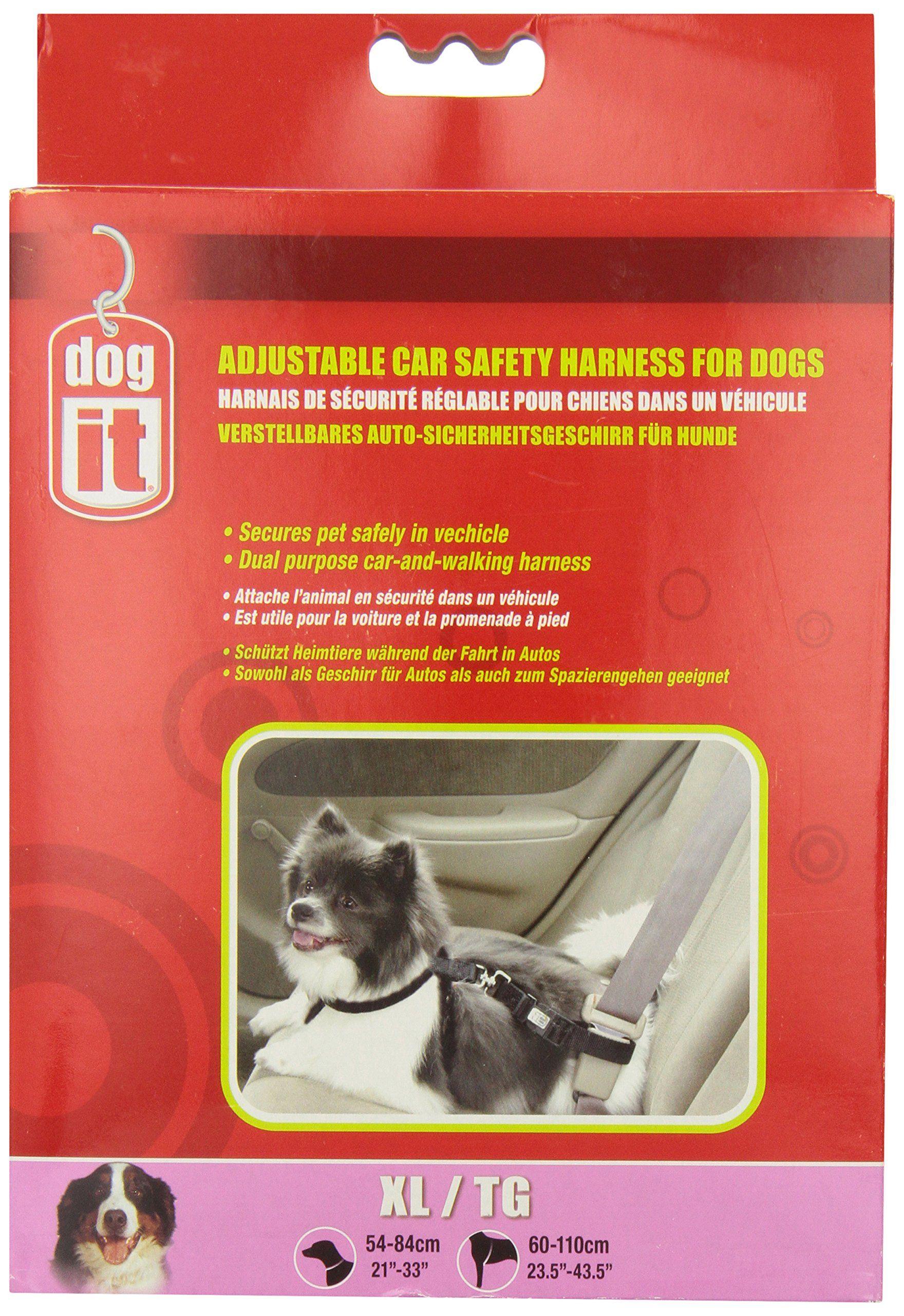 Dogit Adjustable Car Safety Harness, Black, XLarge