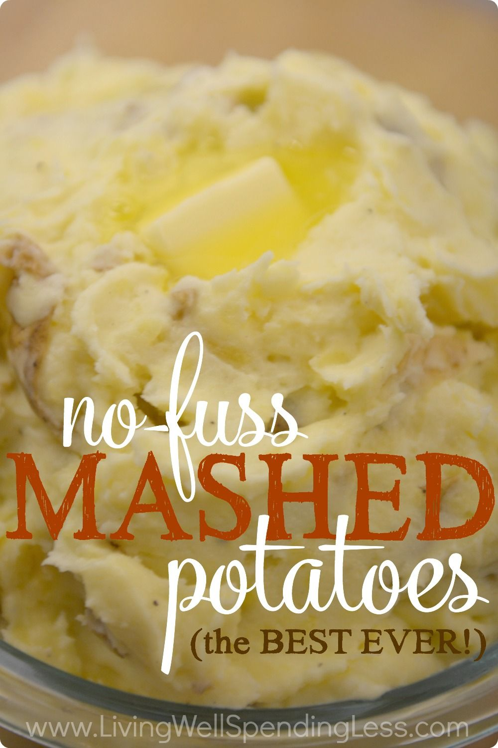Think homemade mashed potatoes are too much work? Think again my friends. These mouthwatering potatoes are practically perfect in every way, with a rich, creamy texture and a flavor that is guaranteed to steal the show! The best part? No peeling required! Seriously, you haven't lived until you've tried these potatoes! #mashedpotatoesrecipe