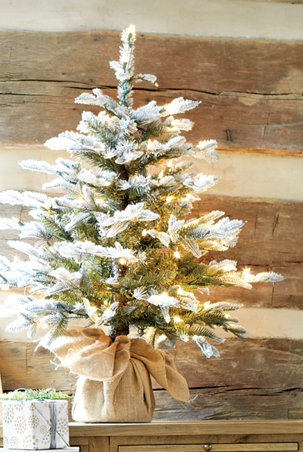 How To Decorate Home Decorating Ideas From Ballard Designs Small Space Christmas Tree Flocked Christmas Trees Rustic Christmas