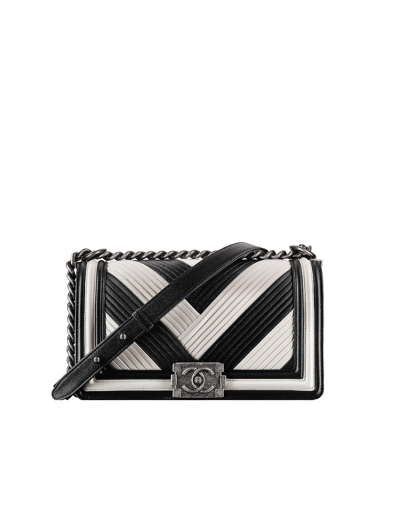 Chanel Black White Pleated Calfskin Boy In Rome Old Medium Bag