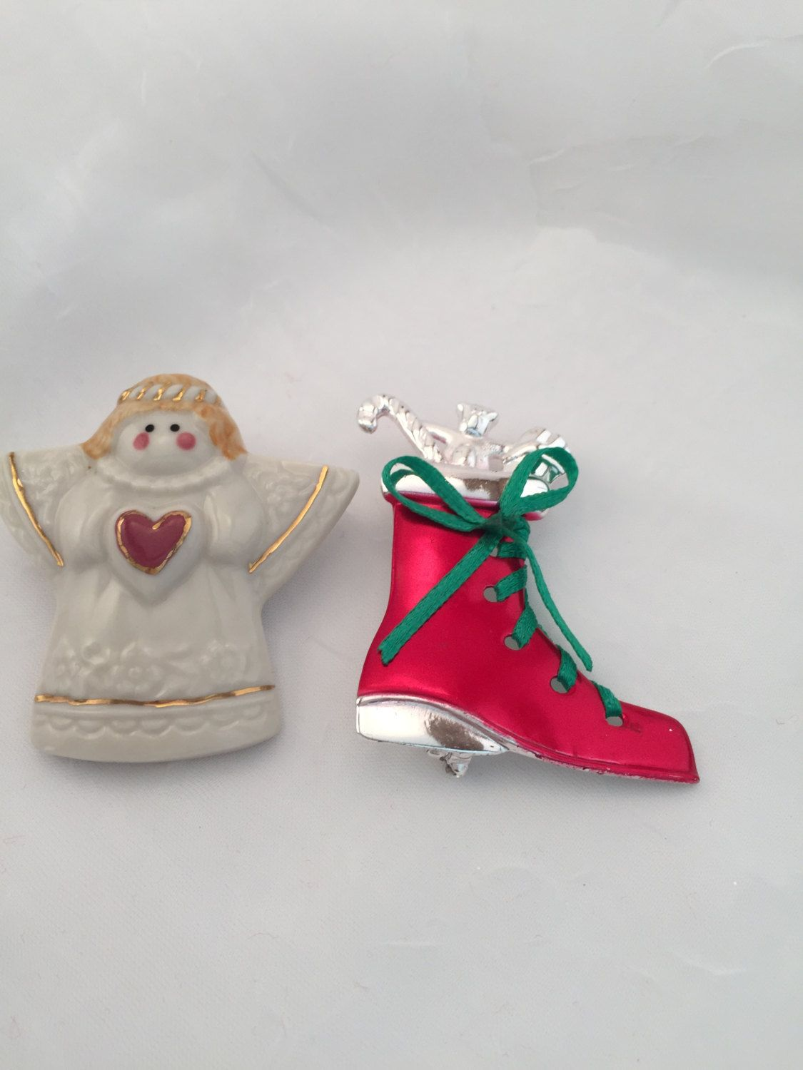Lot of 2 pins, Holiday Angel, Christmas Boot, Christmas pins, holiday pins, cute pins for the holidays, holiday sweater pin, Christmas by Culturewares on Etsy