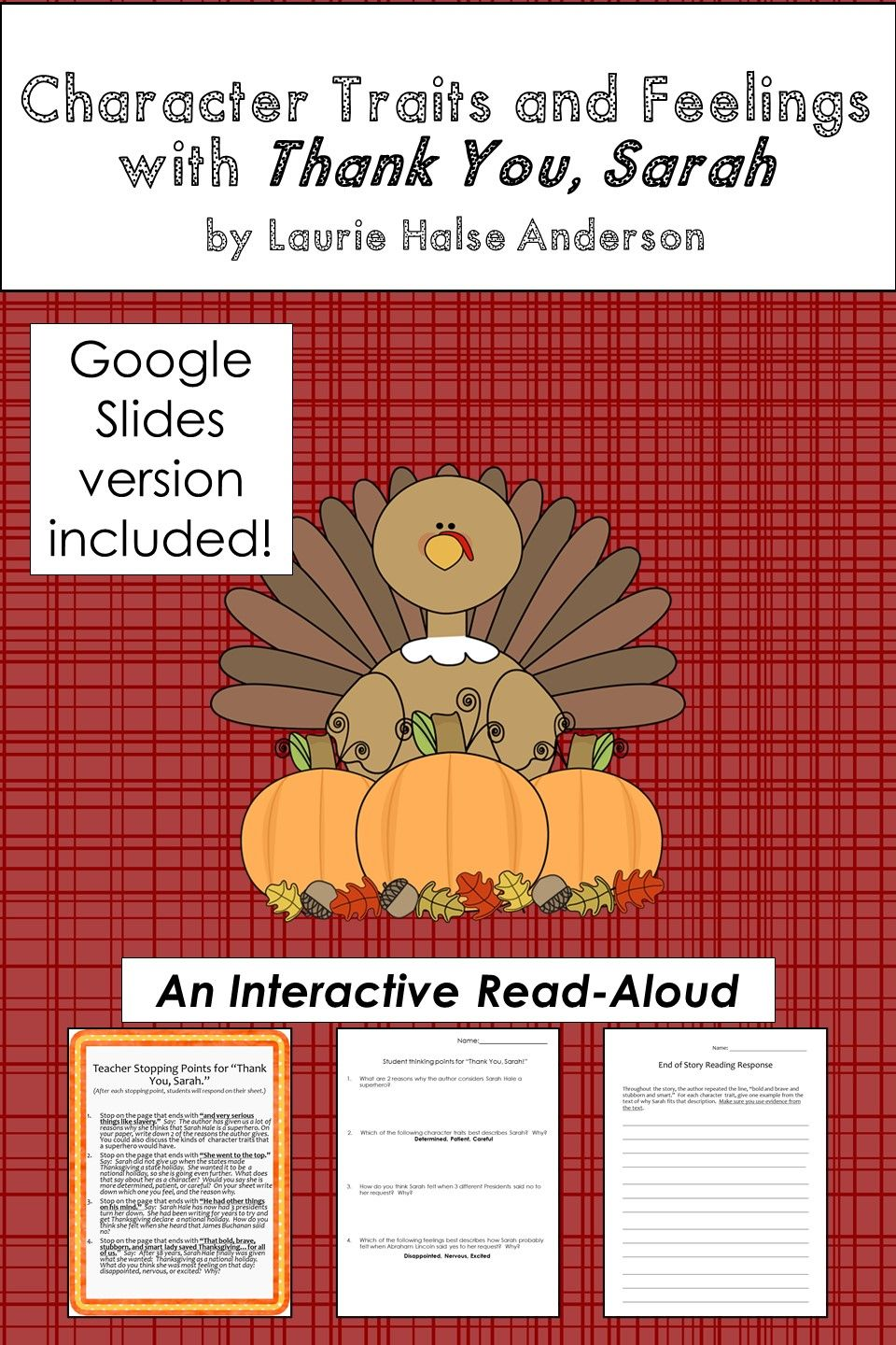 Character Traits And Feelings With Thank You Sarah Interactive Read Aloud Fall Lessons Read Aloud