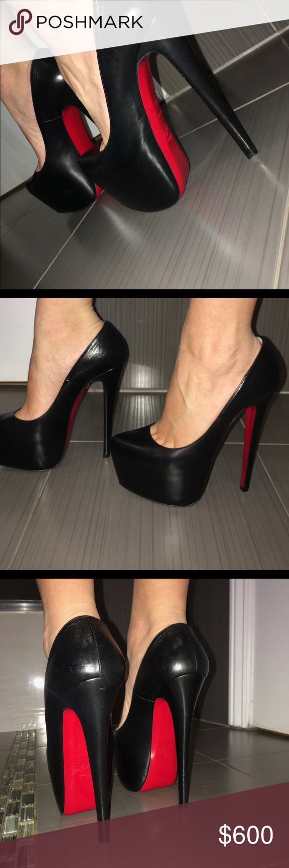 Christian Louboutin Black Heels Daffidlole 6.5 Worn these 2-3 times only. Like brand new comes with dust bag and box Christian Louboutin Shoes Heels