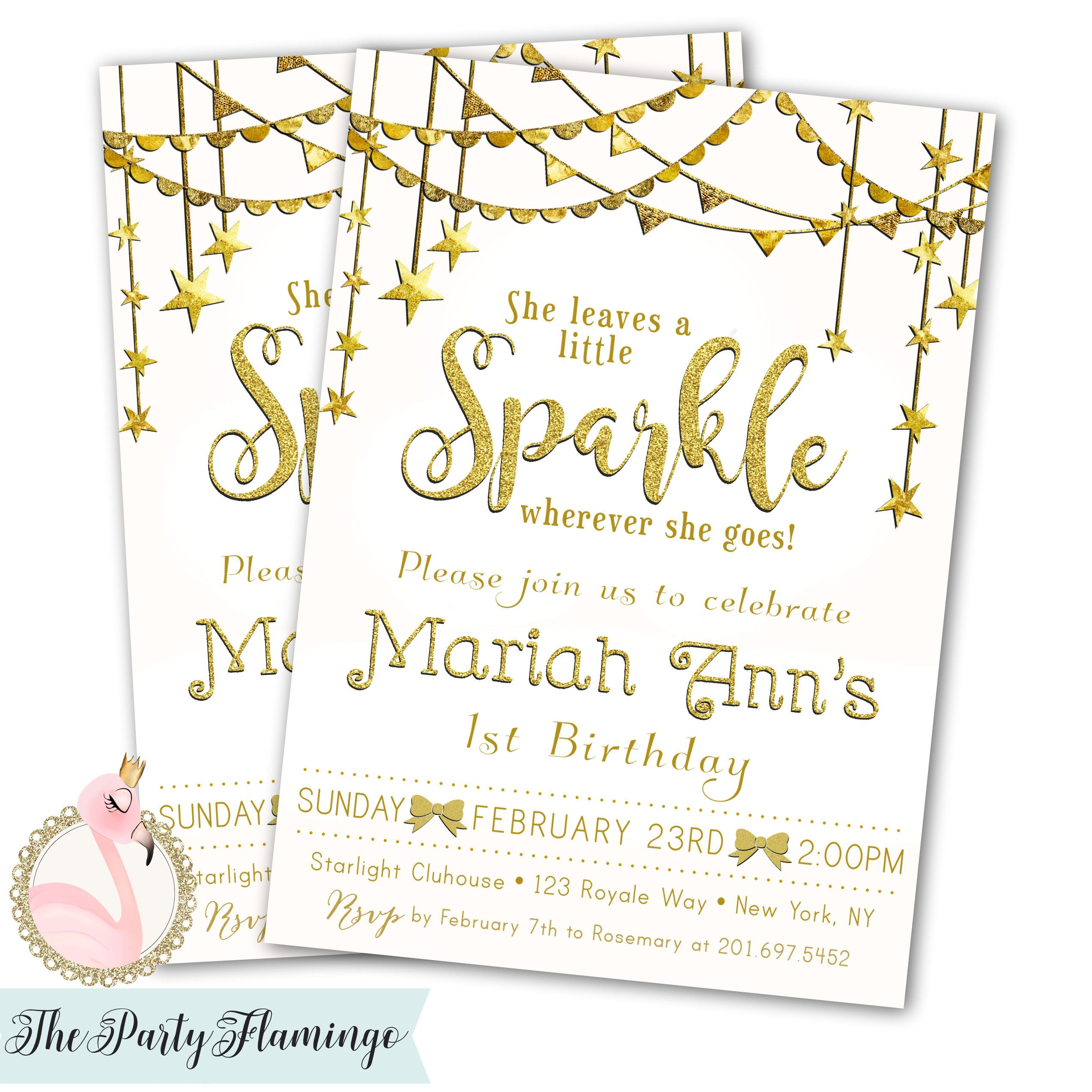 Sparkle 1st Birthday Invitation She Leaves A Little