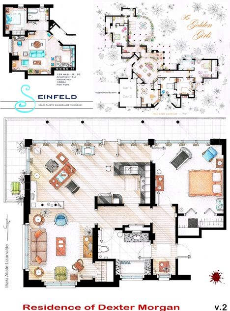 As Seen On Tv Floor Plans From Famous Television Series Rendered Floor Plan Apartment Floor Plans Floor Plans